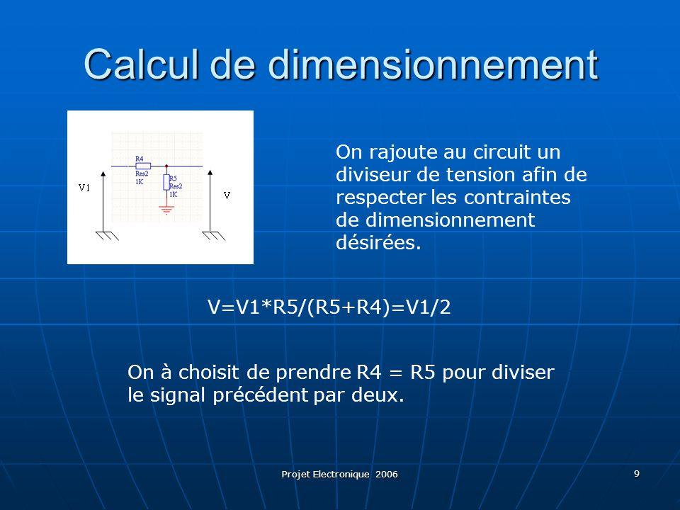 Projet Electronique 2006 9 On rajoute au circuit un diviseur de tension afin de respecter les contraintes de dimensionnement désirées. On à choisit de