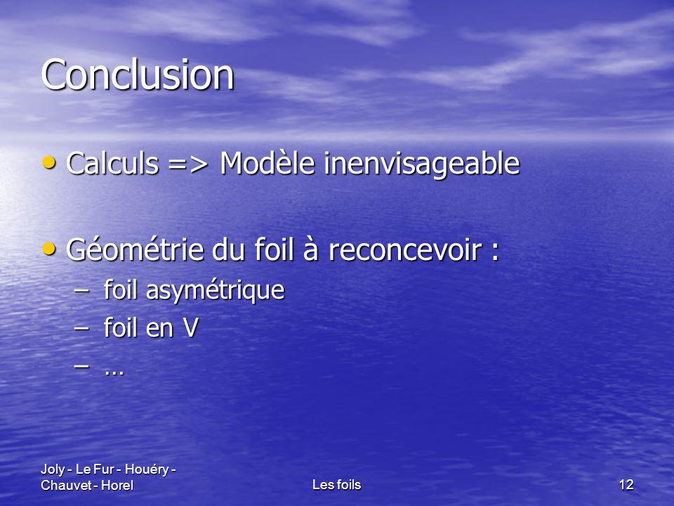 Joly - Le Fur - Houéry - Chauvet - HorelLes foils12 Conclusion Calculs => Modèle inenvisageable Calculs => Modèle inenvisageable Géométrie du foil à r