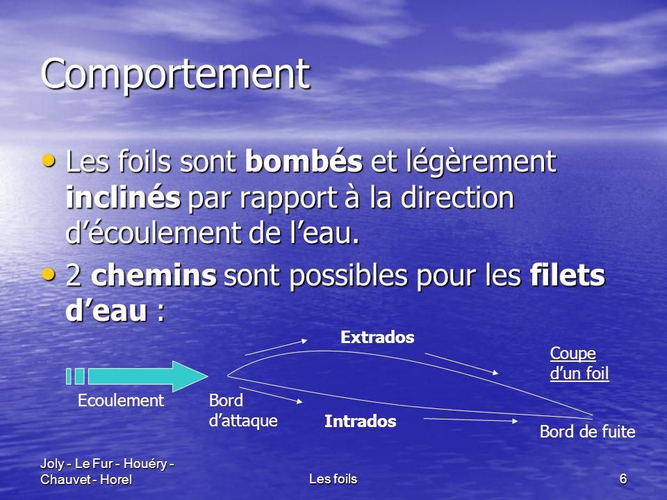 Joly - Le Fur - Houéry - Chauvet - HorelLes foils6 Comportement Les foils sont bombés et légèrement inclinés par rapport à la direction d'écoulement d