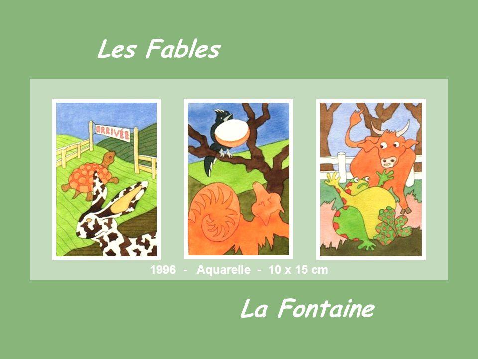 Les Fables La Fontaine 1996 - Aquarelle - 10 x 15 cm