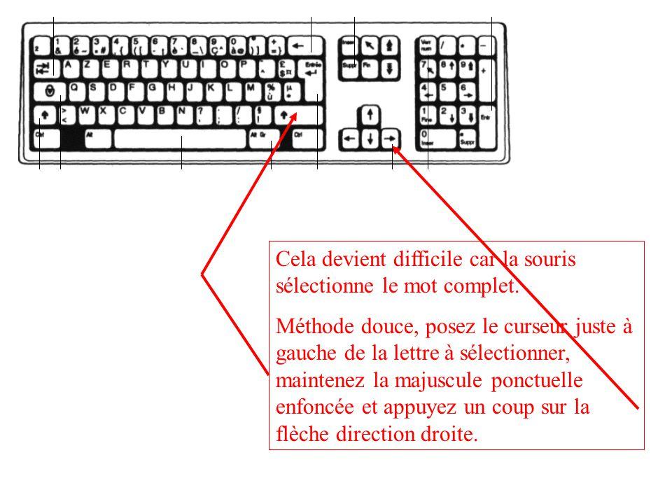 Cela devient difficile car la souris sélectionne le mot complet.
