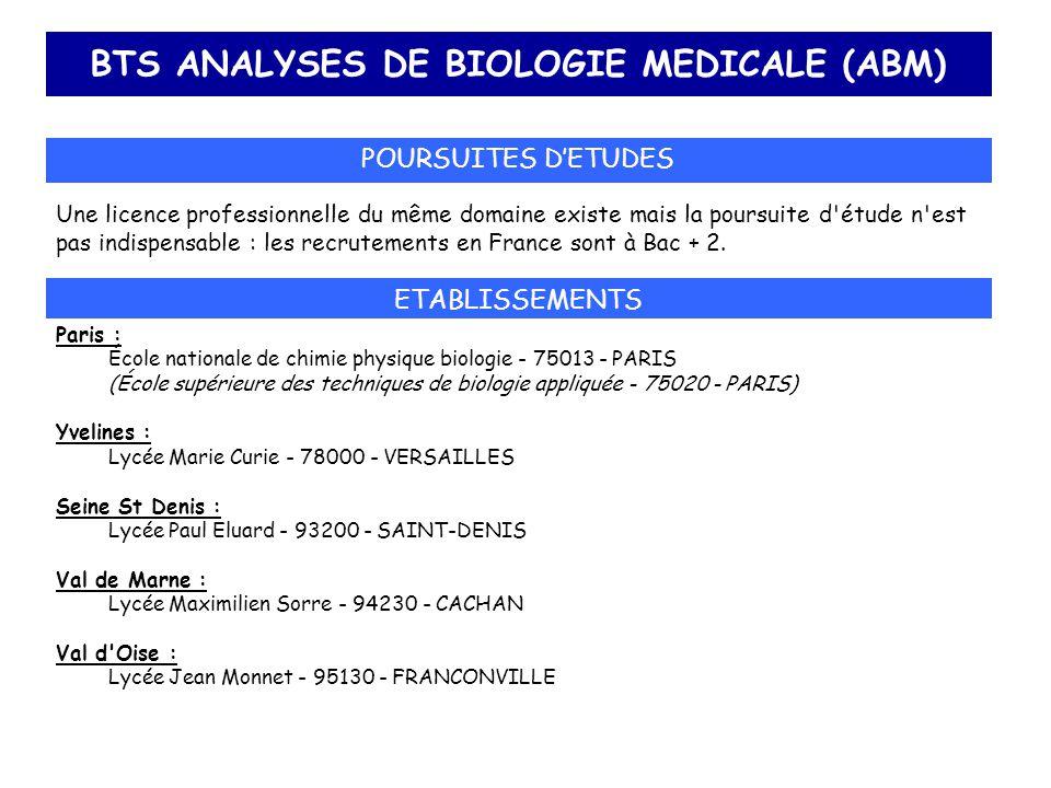 BTS ANALYSES DE BIOLOGIE MEDICALE (ABM) POURSUITES D'ETUDES Une licence professionnelle du même domaine existe mais la poursuite d'étude n'est pas ind