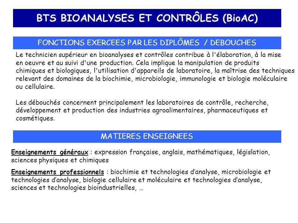 BTS BIOANALYSES ET CONTRÔLES (BioAC) FONCTIONS EXERCEES PAR LES DIPLÔMES / DEBOUCHES Le technicien supérieur en bioanalyses et contrôles contribue à l