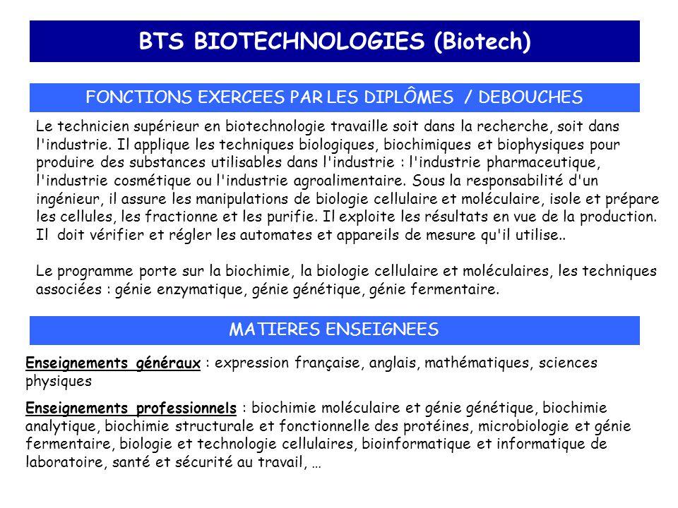 BTS BIOTECHNOLOGIES (Biotech) FONCTIONS EXERCEES PAR LES DIPLÔMES / DEBOUCHES Le technicien supérieur en biotechnologie travaille soit dans la recherc