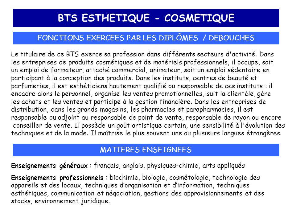 BTS ESTHETIQUE - COSMETIQUE FONCTIONS EXERCEES PAR LES DIPLÔMES / DEBOUCHES Le titulaire de ce BTS exerce sa profession dans différents secteurs d'act