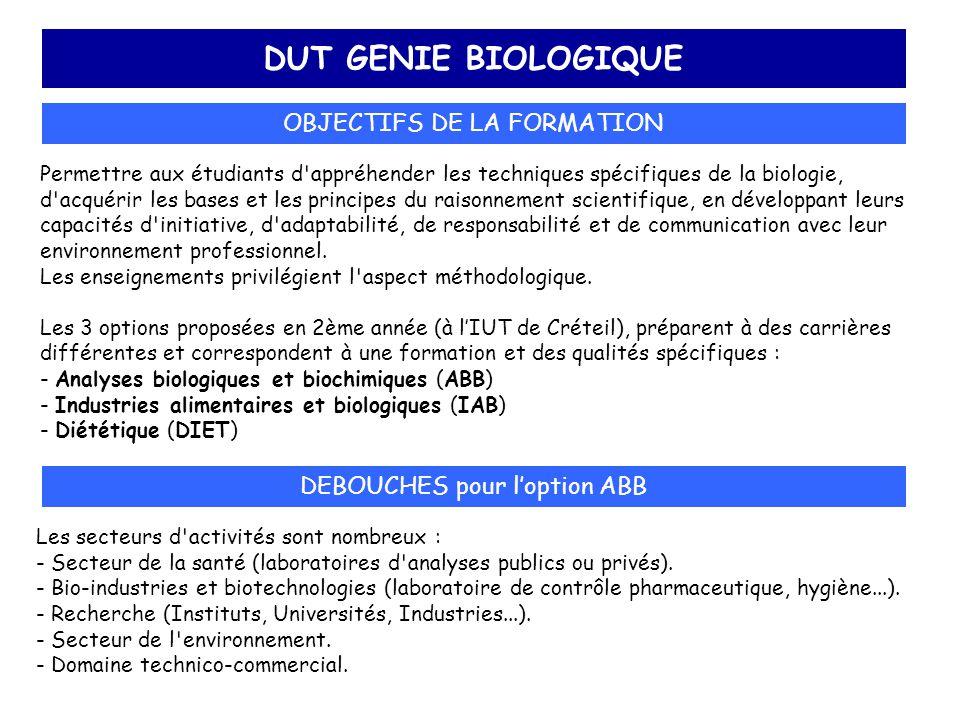 DUT GENIE BIOLOGIQUE OBJECTIFS DE LA FORMATION DEBOUCHES pour l'option ABB Permettre aux étudiants d'appréhender les techniques spécifiques de la biol