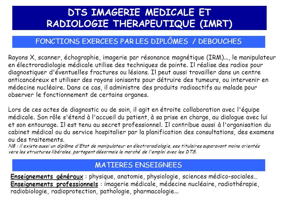 DTS IMAGERIE MEDICALE ET RADIOLOGIE THERAPEUTIQUE (IMRT) FONCTIONS EXERCEES PAR LES DIPLÔMES / DEBOUCHES Rayons X, scanner, échographie, imagerie par