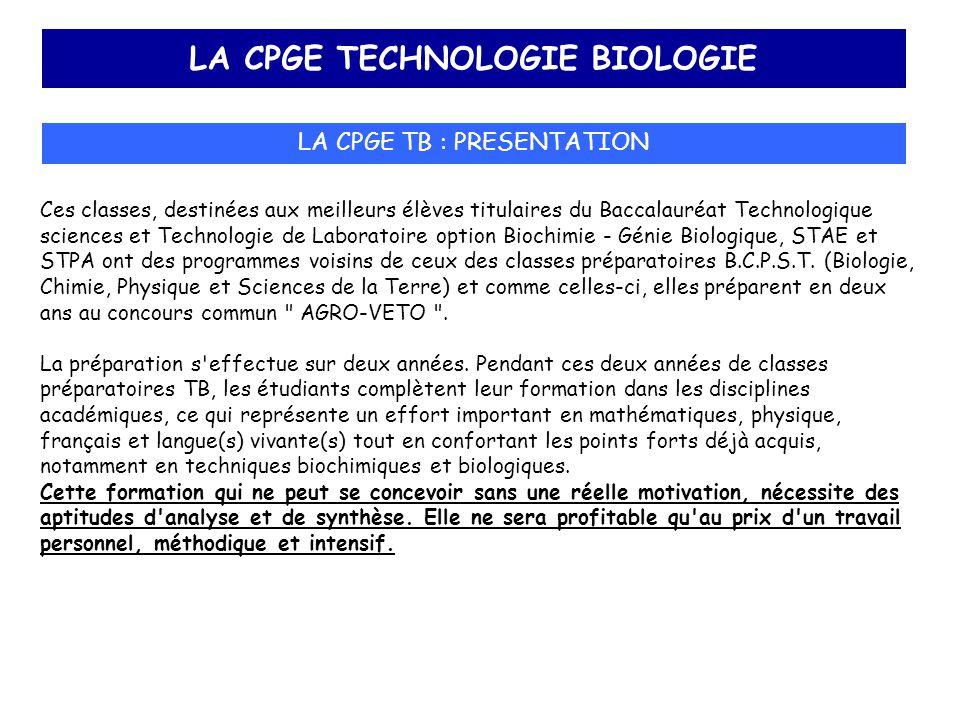 LA CPGE TECHNOLOGIE BIOLOGIE LA CPGE TB : PRESENTATION Ces classes, destinées aux meilleurs élèves titulaires du Baccalauréat Technologique sciences e