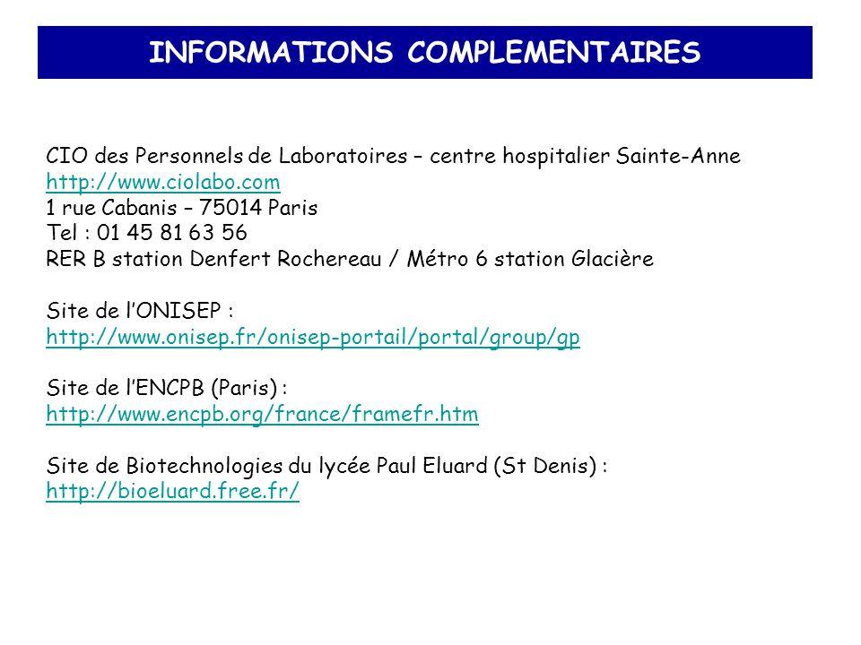 INFORMATIONS COMPLEMENTAIRES CIO des Personnels de Laboratoires – centre hospitalier Sainte-Anne http://www.ciolabo.com 1 rue Cabanis – 75014 Paris Te