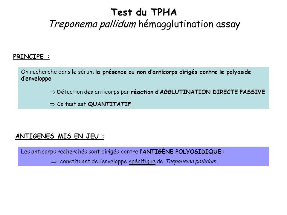 Test du TPHA Treponema pallidum hémagglutination assay PRINCIPE : On recherche dans le sérum la présence ou non d'anticorps dirigés contre le polyosid