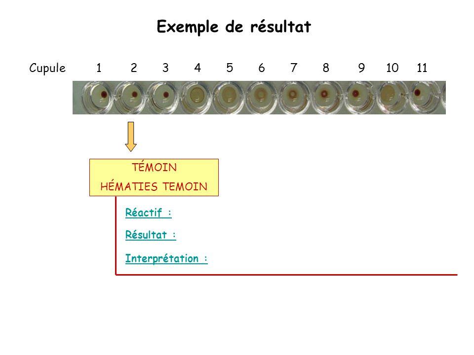 Exemple de résultat Cupule 1 2 3 4 5 6 7 8 9 10 11 Réactif : Interprétation : Résultat : TÉMOIN HÉMATIES TEMOIN