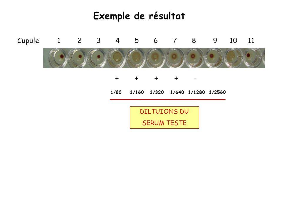 Exemple de résultat Cupule 1 2 3 4 5 6 7 8 9 10 11 DILTUIONS DU SERUM TESTE + + + + - 1/80 1/160 1/320 1/640 1/1280 1/2560