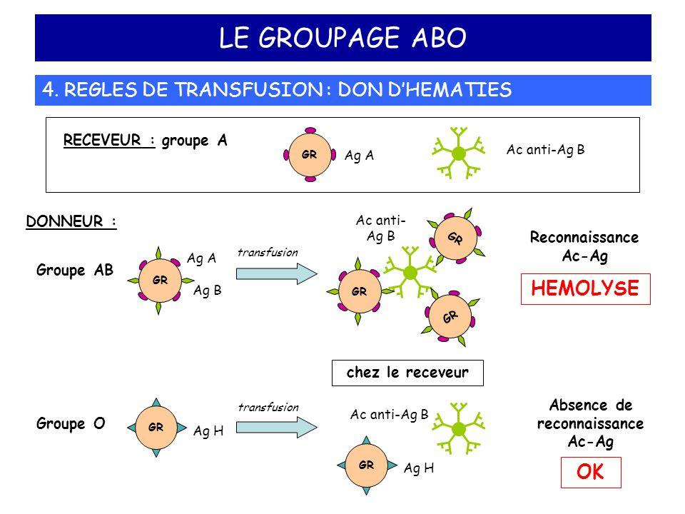 LE GROUPAGE ABO 4. REGLES DE TRANSFUSION : DON D'HEMATIES DONNEUR : Reconnaissance Ac-Ag HEMOLYSE Groupe AB GR Ag A Ag B transfusion RECEVEUR : groupe
