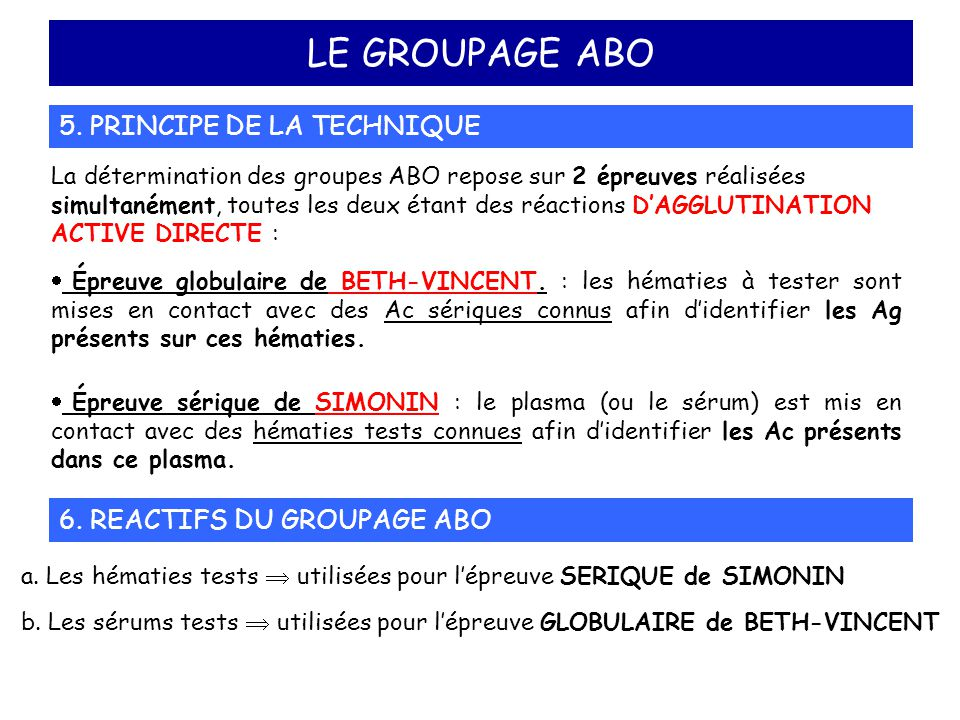 LE GROUPAGE ABO 5. PRINCIPE DE LA TECHNIQUE La détermination des groupes ABO repose sur 2 épreuves réalisées simultanément, toutes les deux étant des