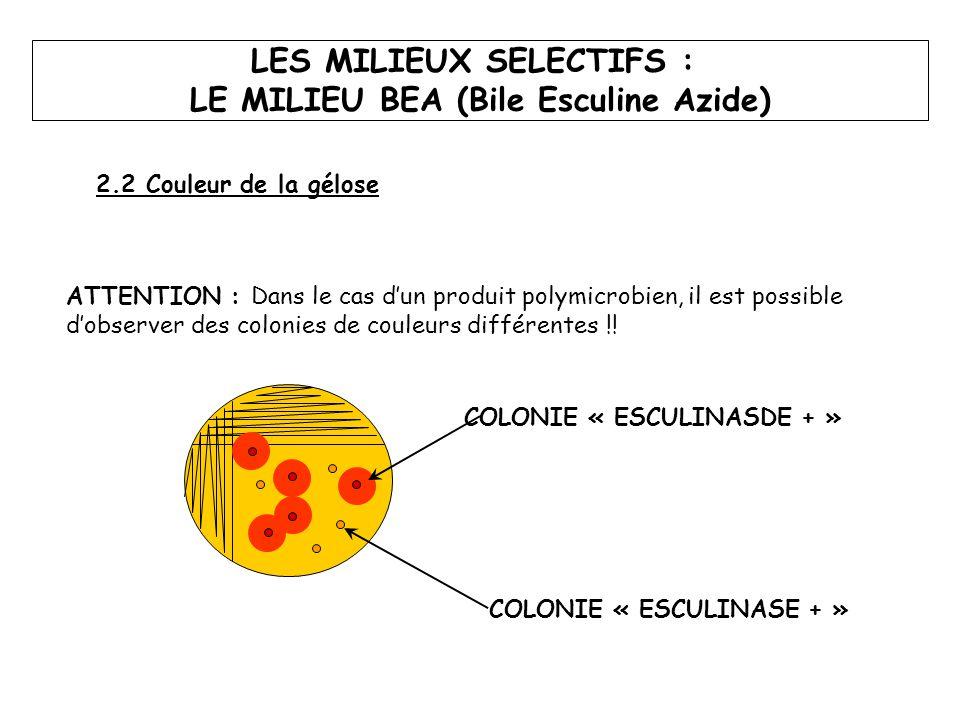 ATTENTION : Dans le cas d'un produit polymicrobien, il est possible d'observer des colonies de couleurs différentes !! COLONIE « ESCULINASE + » COLONI