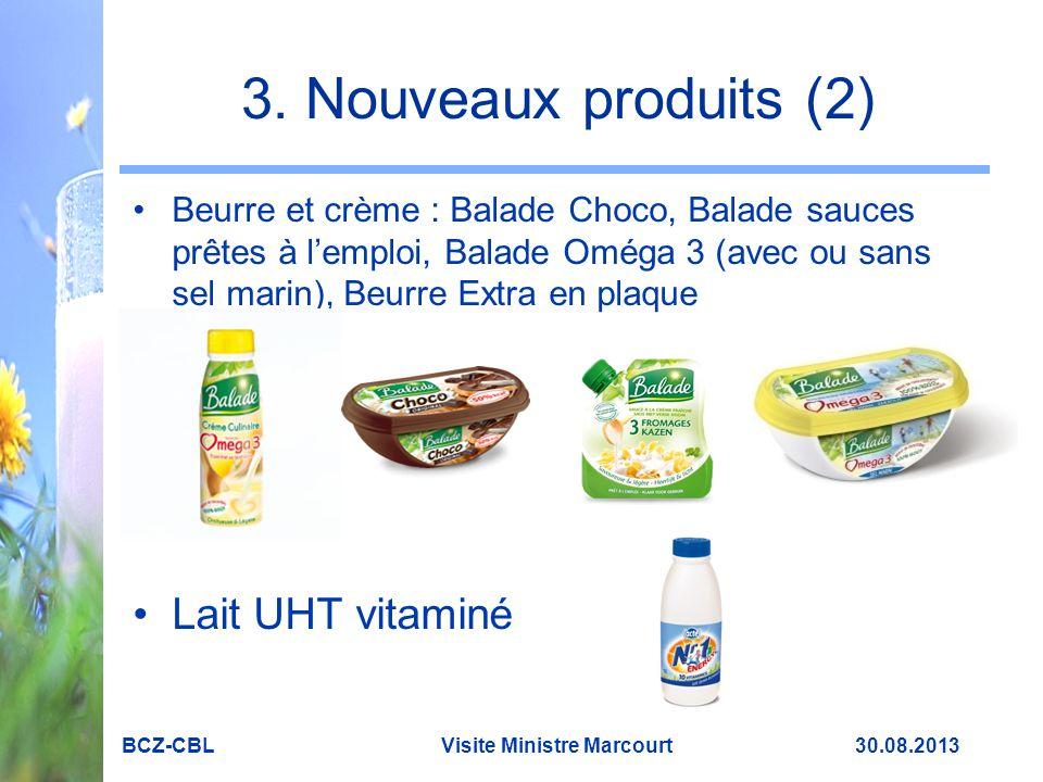 3. Nouveaux produits (2) Beurre et crème : Balade Choco, Balade sauces prêtes à l'emploi, Balade Oméga 3 (avec ou sans sel marin), Beurre Extra en pla