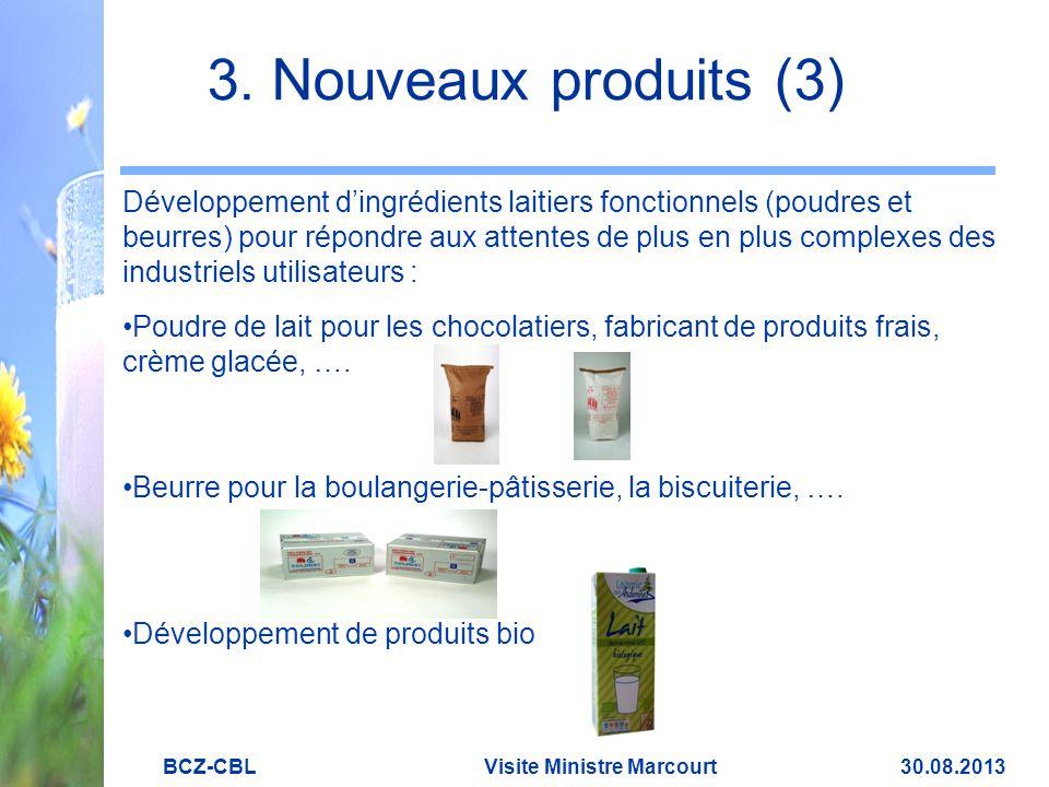 3. Nouveaux produits (3) Développement d'ingrédients laitiers fonctionnels (poudres et beurres) pour répondre aux attentes de plus en plus complexes d