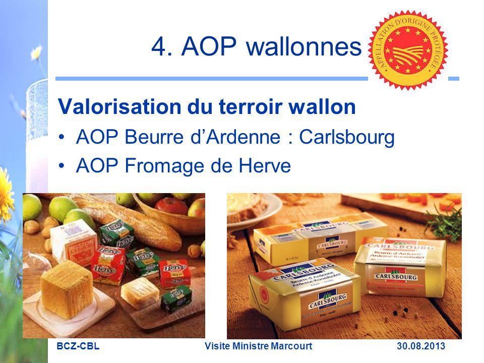 4. AOP wallonnes Valorisation du terroir wallon AOP Beurre d'Ardenne : Carlsbourg AOP Fromage de Herve BCZ-CBL Visite Ministre Marcourt 30.08.2013