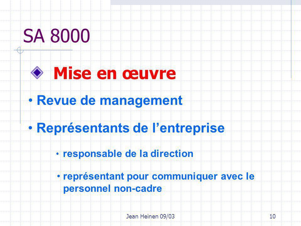 Jean Heinen 09/0310 SA 8000 Mise en œuvre Revue de management Représentants de l'entreprise responsable de la direction représentant pour communiquer avec le personnel non-cadre