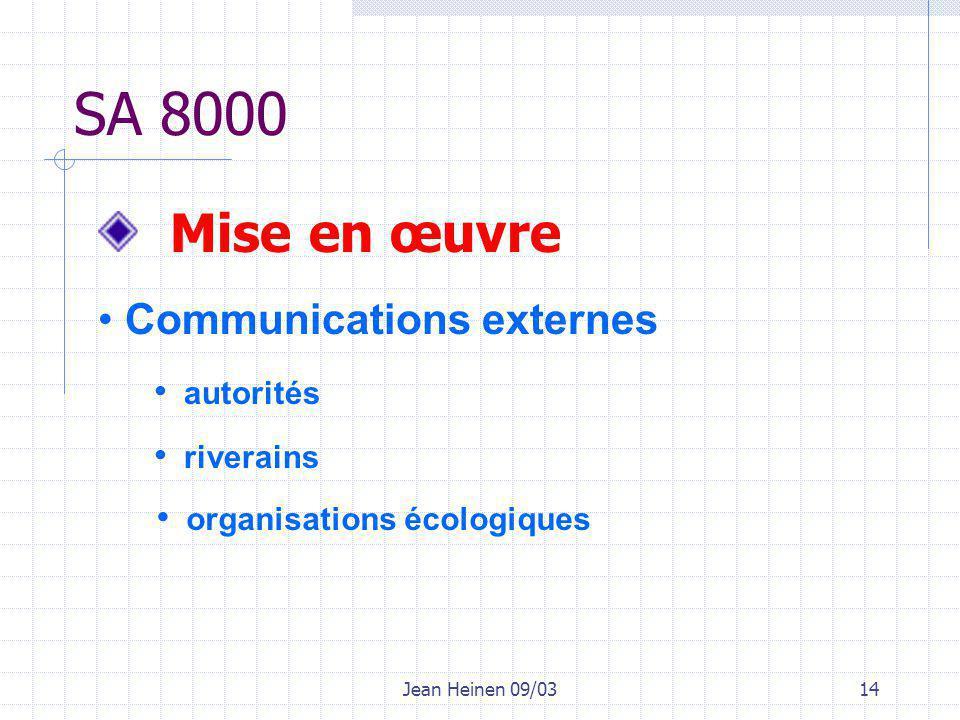 Jean Heinen 09/0314 SA 8000 Mise en œuvre Communications externes autorités riverains organisations écologiques