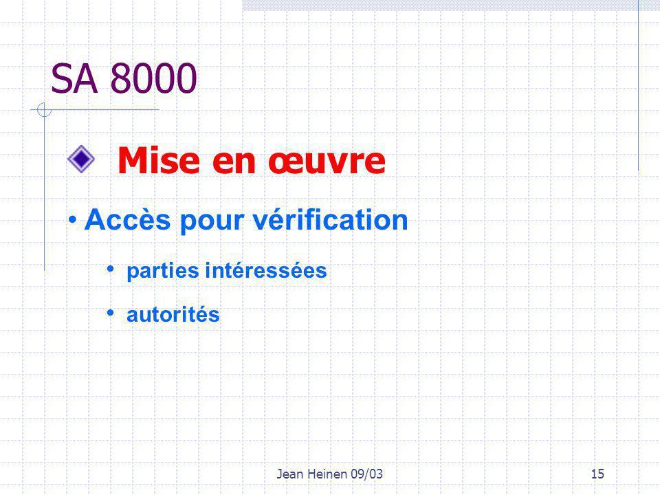 Jean Heinen 09/0315 SA 8000 Mise en œuvre Accès pour vérification parties intéressées autorités