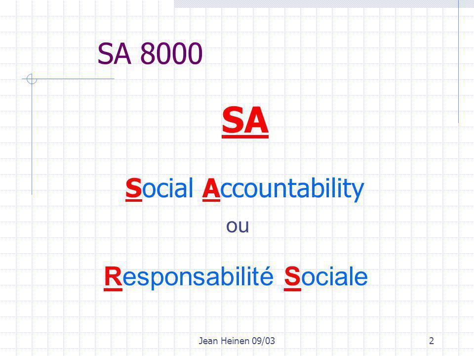 Jean Heinen 09/033 Objectifs SA 8000 promotion de la santé et de la sécurité des employés au travail établir un système de management et de contrôle investissement dans le capital humain, la protection de l'environnement respect des droits de la personne