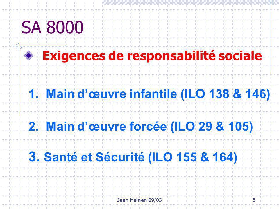 Jean Heinen 09/036 SA 8000 4.Liberté syndicale et droit de négociation (ILO 98 & 87) 5.