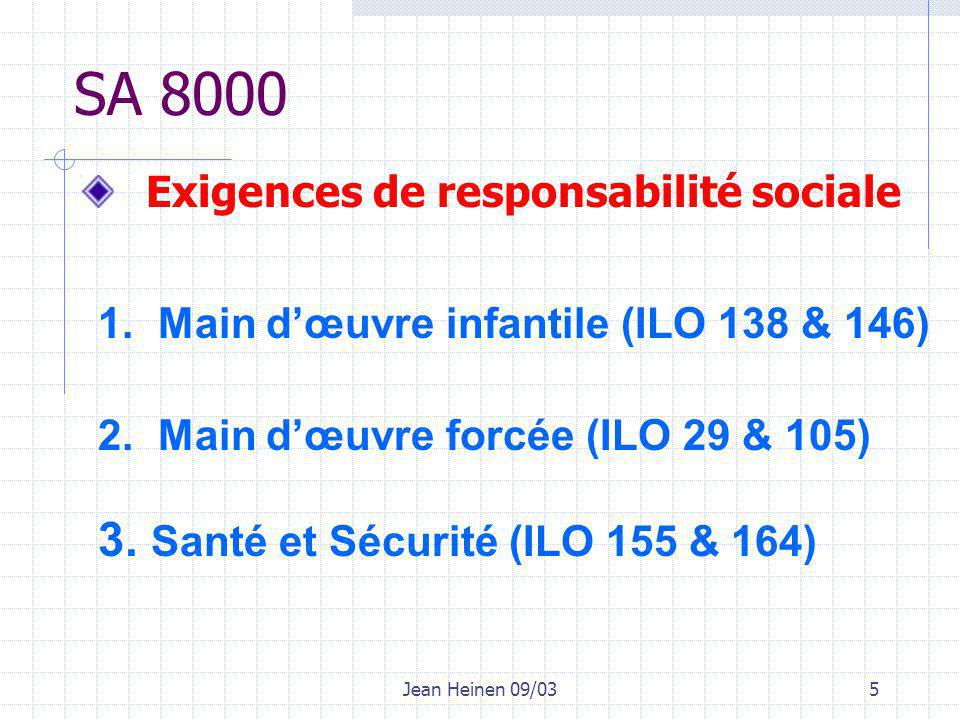 Jean Heinen 09/035 Exigences de responsabilité sociale SA 8000 1.