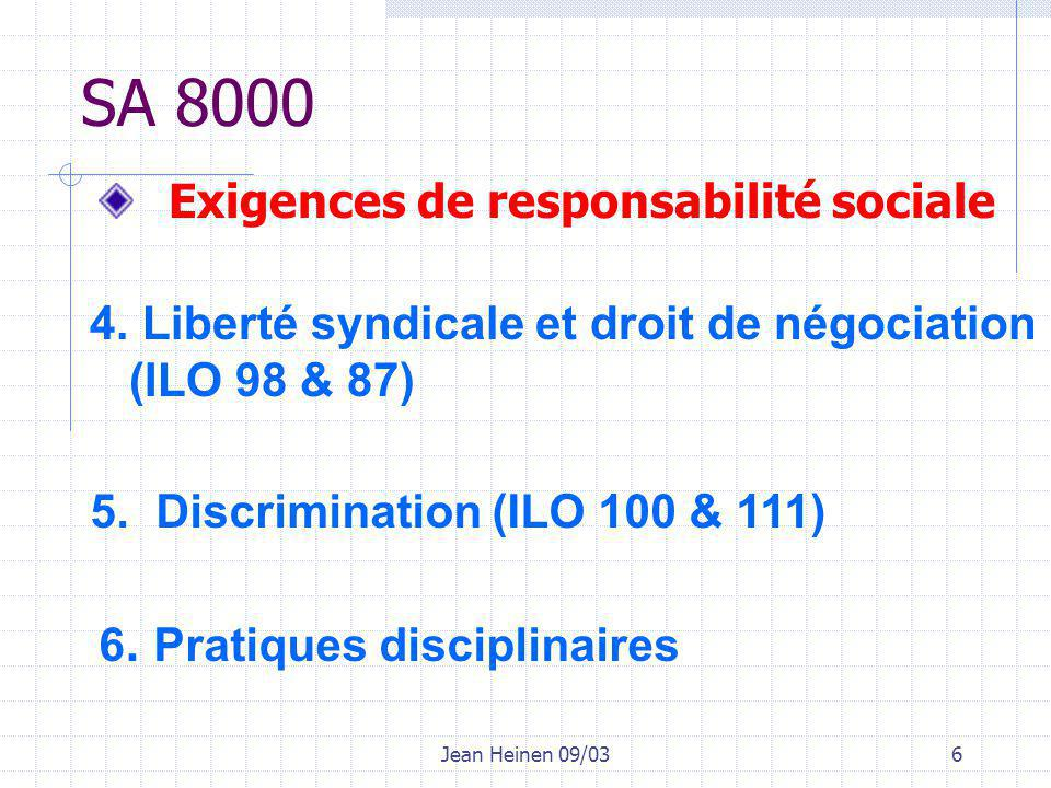 Jean Heinen 09/036 SA 8000 4. Liberté syndicale et droit de négociation (ILO 98 & 87) 5.