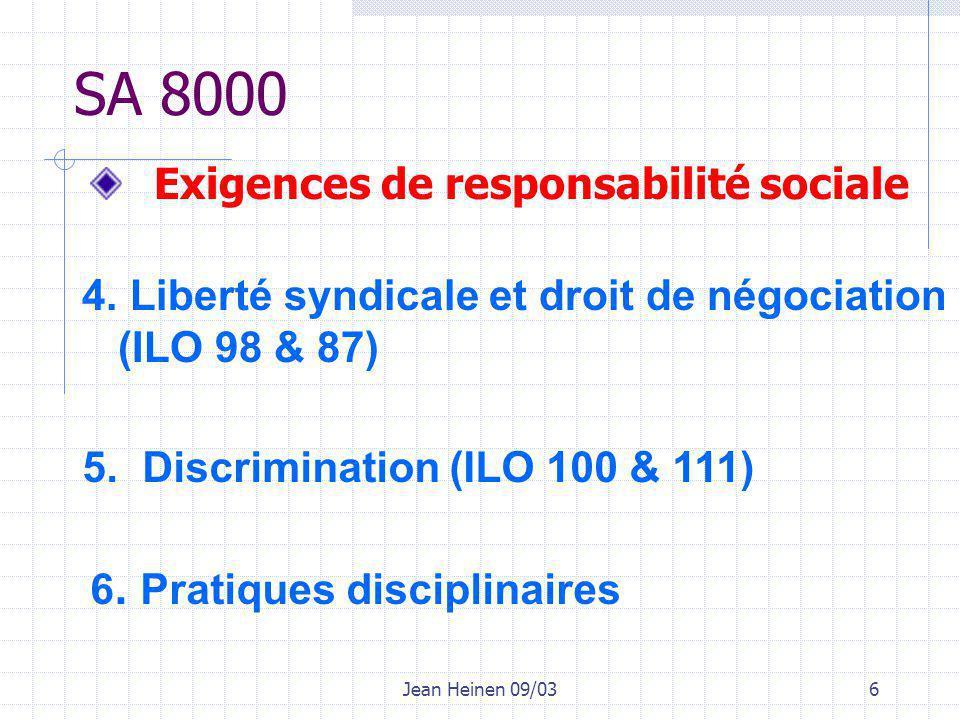 Jean Heinen 09/037 SA 8000 7.Heures de travail 8.