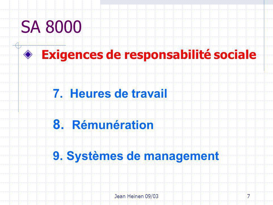 Jean Heinen 09/037 SA 8000 7. Heures de travail 8.