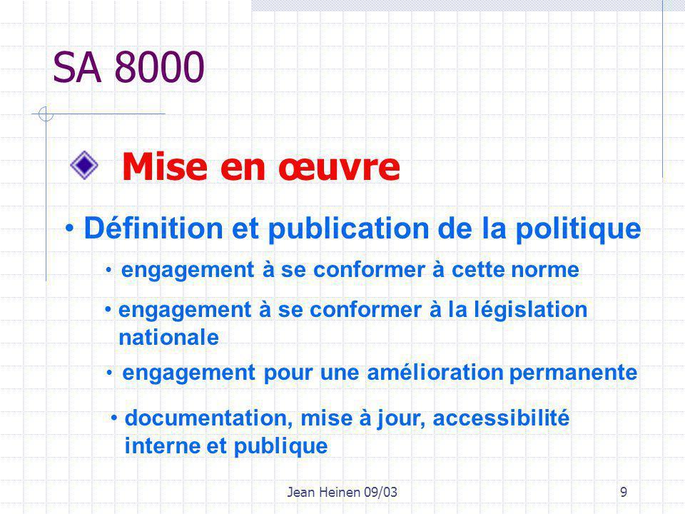 Jean Heinen 09/039 Mise en œuvre SA 8000 Définition et publication de la politique engagement à se conformer à cette norme engagement à se conformer à la législation nationale engagement pour une amélioration permanente documentation, mise à jour, accessibilité interne et publique