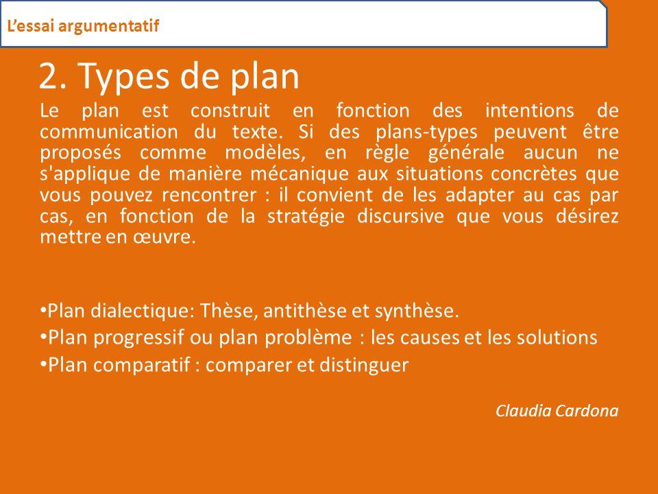 2.1 Plan dialectique C'est un plan très souvent utilisé dans les dissertations, il se compose d'une thèse et d'une antithèse ainsi que d'une synthèse.