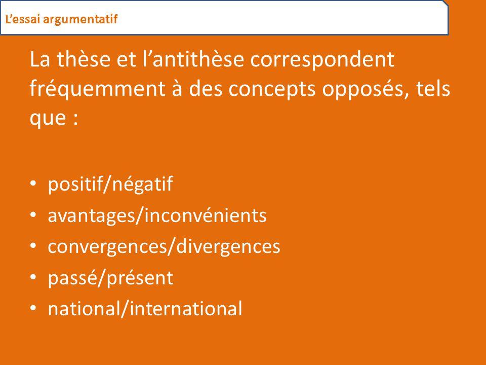 La thèse et l'antithèse correspondent fréquemment à des concepts opposés, tels que : positif/négatif avantages/inconvénients convergences/divergences passé/présent national/international L'essai argumentatif