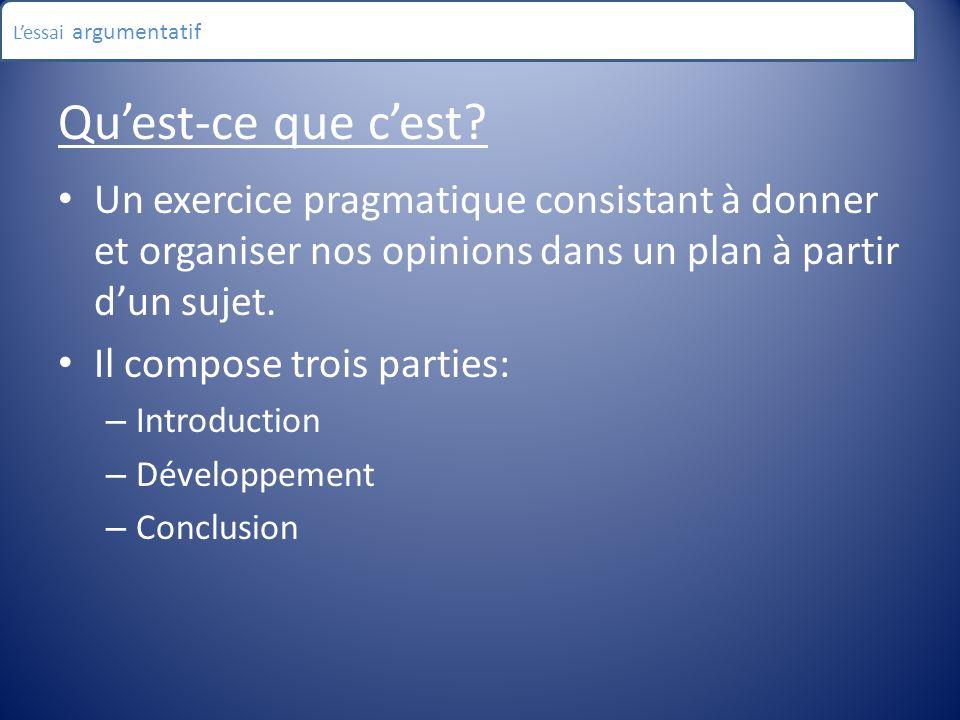 Qu'est-ce que c'est? Un exercice pragmatique consistant à donner et organiser nos opinions dans un plan à partir d'un sujet. Il compose trois parties: