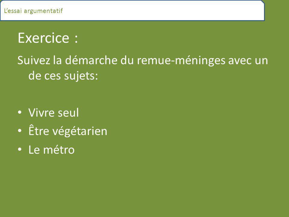 Exercice : Suivez la démarche du remue-méninges avec un de ces sujets: Vivre seul Être végétarien Le métro L'essai argumentatif