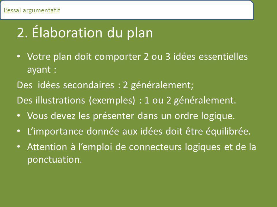 2. Élaboration du plan Votre plan doit comporter 2 ou 3 idées essentielles ayant : Des idées secondaires : 2 généralement; Des illustrations (exemples