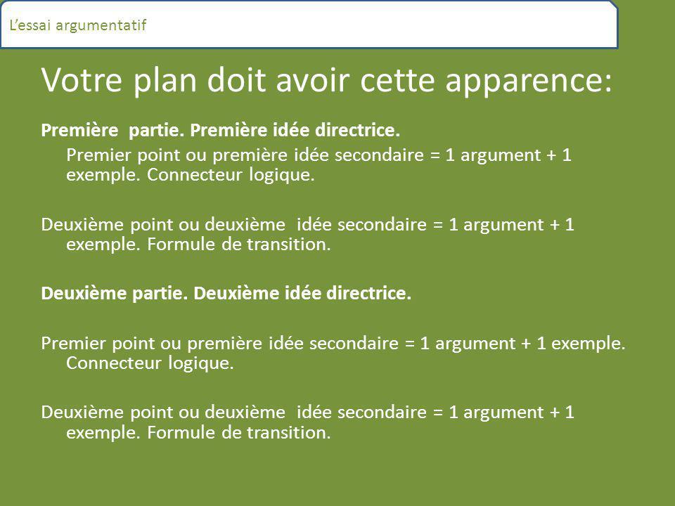 Votre plan doit avoir cette apparence: Première partie. Première idée directrice. Premier point ou première idée secondaire = 1 argument + 1 exemple.