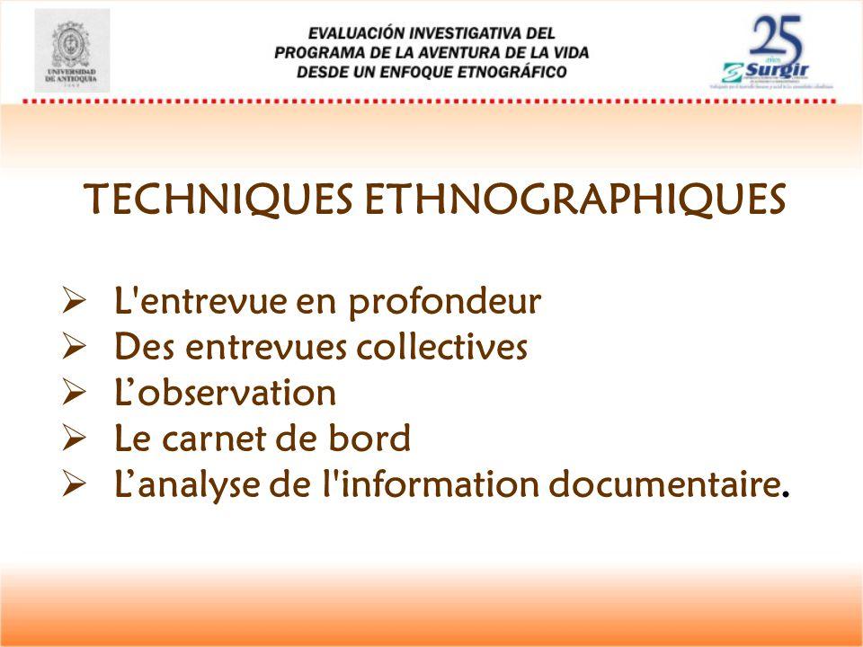TECHNIQUES ETHNOGRAPHIQUES  L'entrevue en profondeur  Des entrevues collectives  L'observation  Le carnet de bord  L'analyse de l'information doc