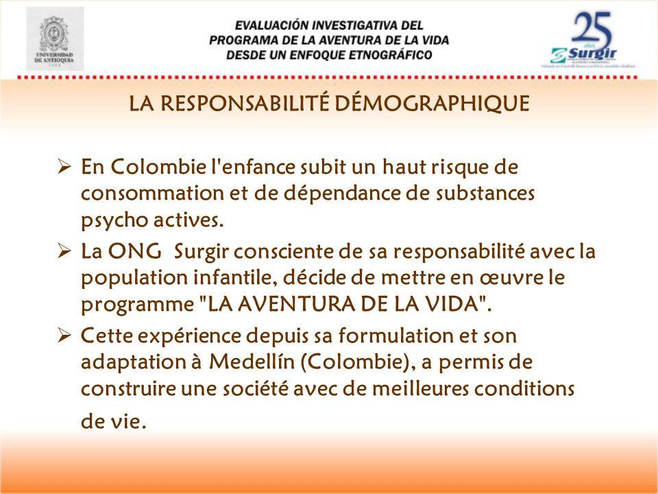 LA RESPONSABILITÉ DÉMOGRAPHIQUE  En Colombie l'enfance subit un haut risque de consommation et de dépendance de substances psycho actives.  La ONG S