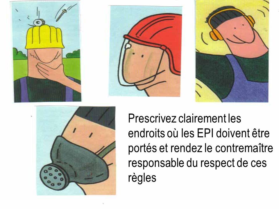 JH+PL 15.03.02 16 Prescrivez clairement les endroits où les EPI doivent être portés et rendez le contremaître responsable du respect de ces règles