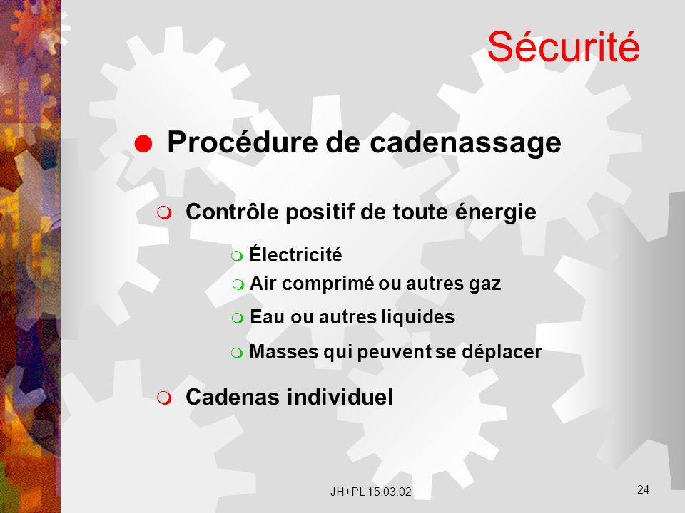 JH+PL 15.03.02 24 Sécurité  Procédure de cadenassage  Contrôle positif de toute énergie  Électricité  Air comprimé ou autres gaz  Eau ou autres l