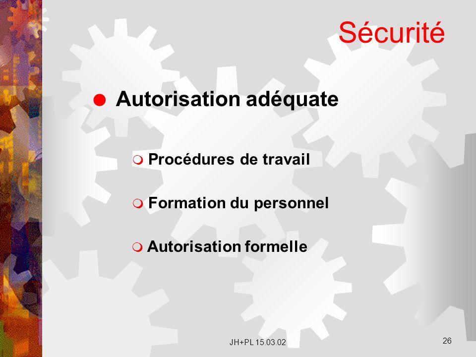 JH+PL 15.03.02 26 Sécurité  Autorisation adéquate  Procédures de travail  Formation du personnel  Autorisation formelle