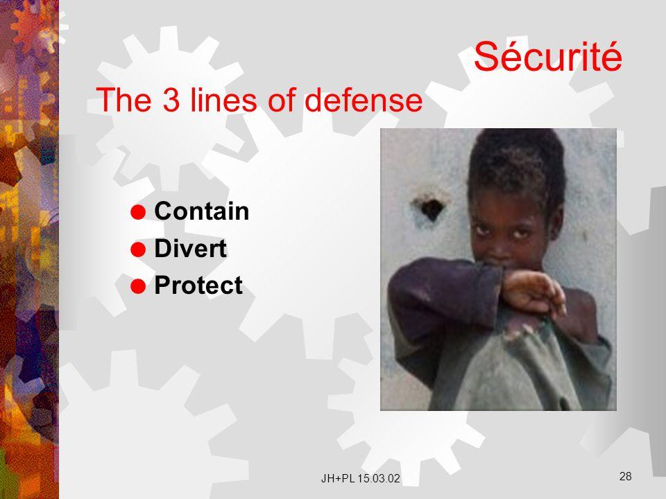 JH+PL 15.03.02 28 The 3 lines of defense  Contain  Divert  Protect Sécurité