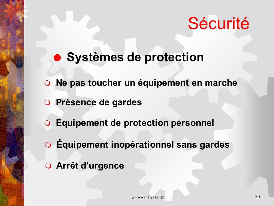 JH+PL 15.03.02 30 Sécurité  Systèmes de protection  Ne pas toucher un équipement en marche  Présence de gardes  Équipement inopérationnel sans gar