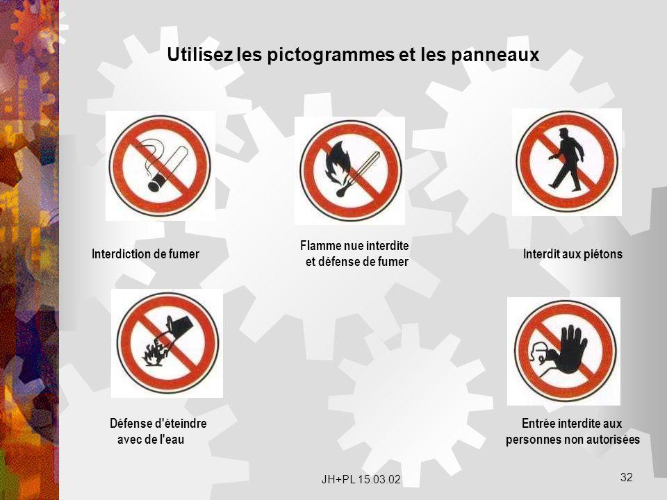 JH+PL 15.03.02 32. Interdiction de fumer Flamme nue interdite et défense de fumer Interdit aux piétons Défense d'éteindre avec de l'eau Entrée interdi