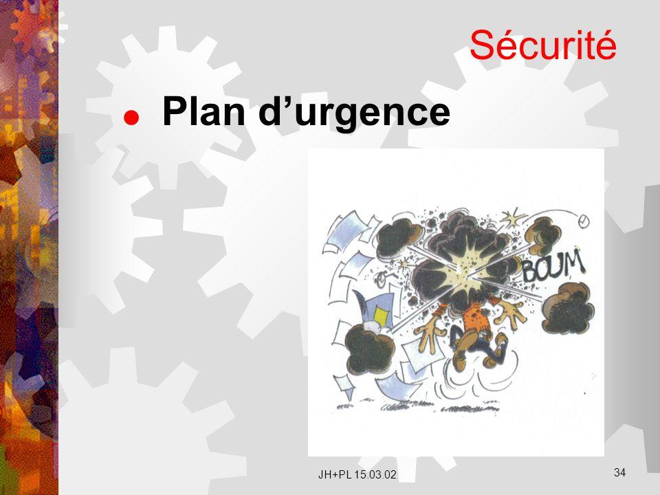 JH+PL 15.03.02 34 Sécurité  Plan d'urgence