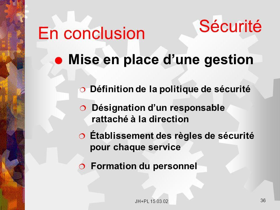 JH+PL 15.03.02 36 En conclusion  Mise en place d'une gestion  Définition de la politique de sécurité  Désignation d'un responsable rattaché à la di