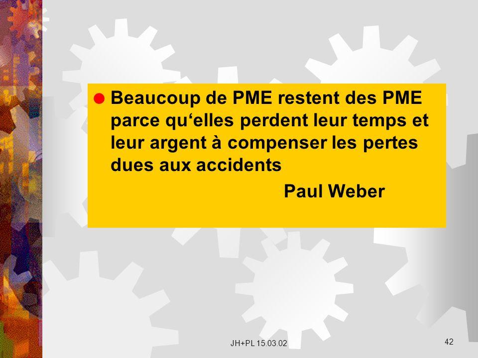 JH+PL 15.03.02 42  Beaucoup de PME restent des PME parce qu'elles perdent leur temps et leur argent à compenser les pertes dues aux accidents Paul We