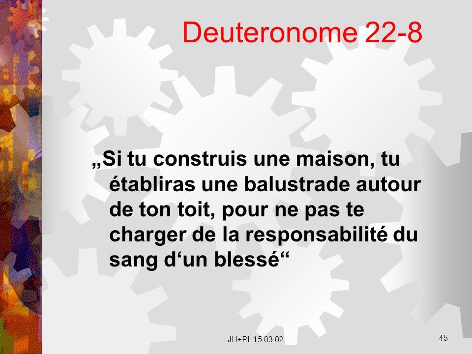 """JH+PL 15.03.02 45 Deuteronome 22-8 """"Si tu construis une maison, tu établiras une balustrade autour de ton toit, pour ne pas te charger de la responsab"""